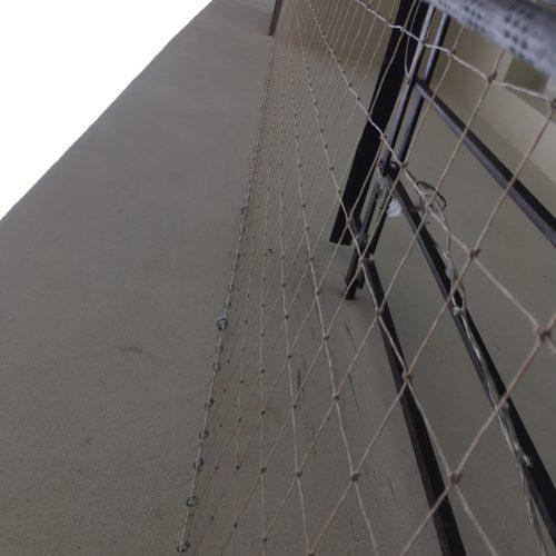 Instalace sítě proti holubům pomocí horolezecké techniky, Lucemburská, Praha 3
