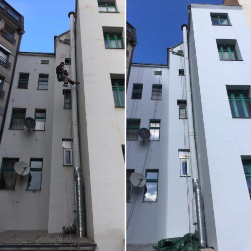 Renovace dvorní fasády, Záhřebská, Praha 2